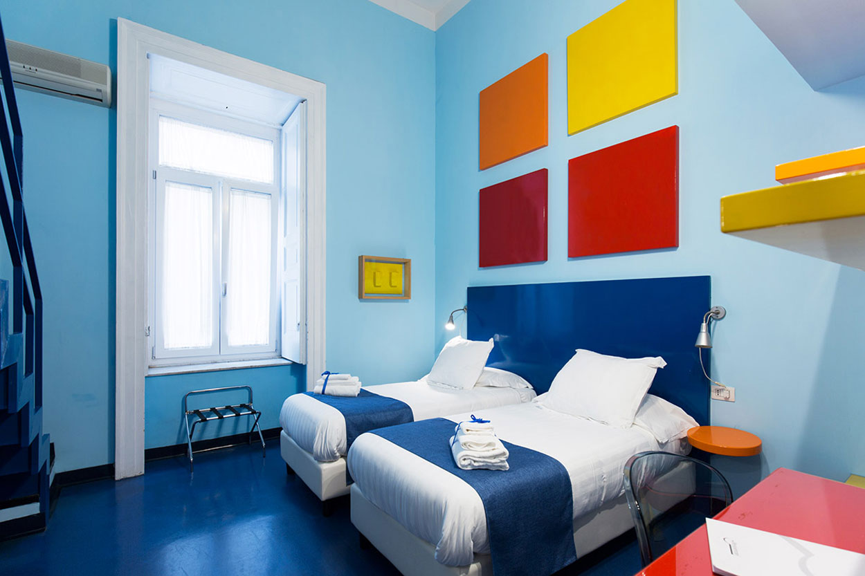Guest room of the Hotel Correra 241, Naples Italy