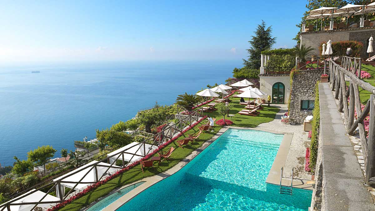 Swimming pool of Palazzo Avino luxury hotel Ravello (Amalfi coast, Italy)